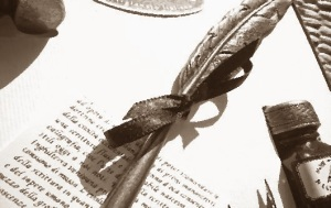 Document and quill pen